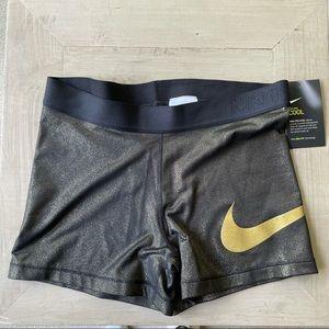 Nike Pro Cool Training Metallic Gold Shimmer Short